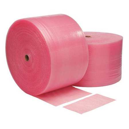 "GRAINGER APPROVED Perforated Anti-Static Bubble Roll 48"" x 750 ft., 3/16"" Thickness, Pink, 36DY75"