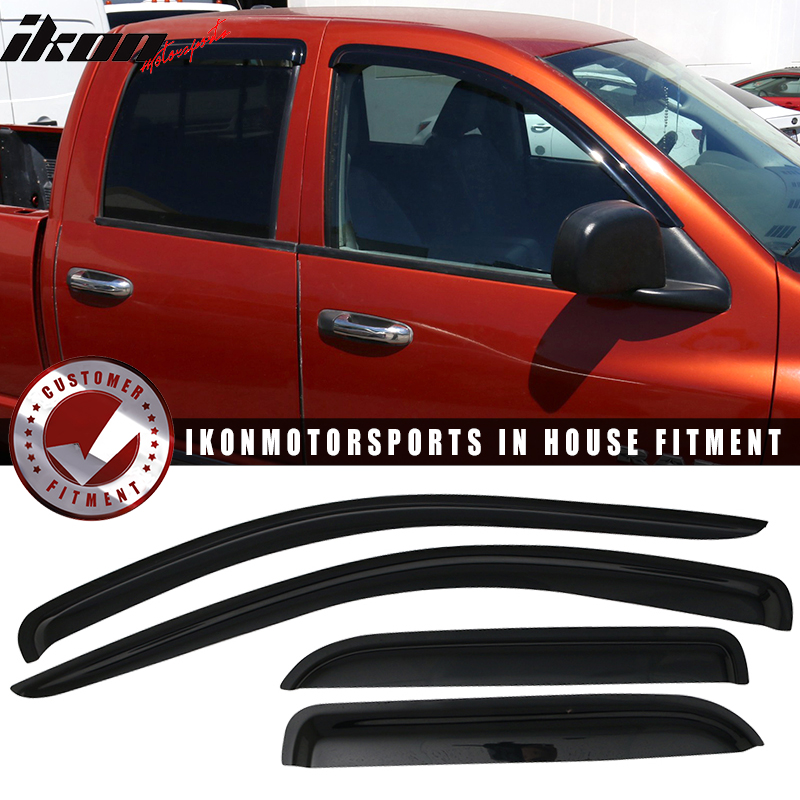Fits 02-09 Dodge Ram Quad Cab Acrylic Window Visors 4Pc Set