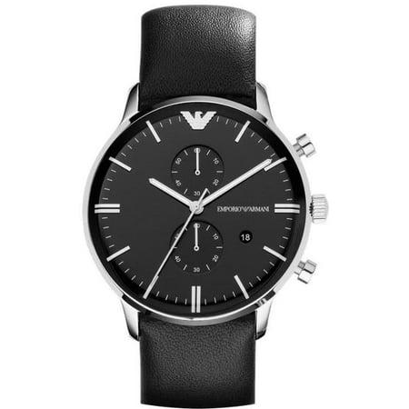 Emporio Armani Men's Chronograph Classic Black Leather Strap Analog Watch - Classic Chronograph Black Leather