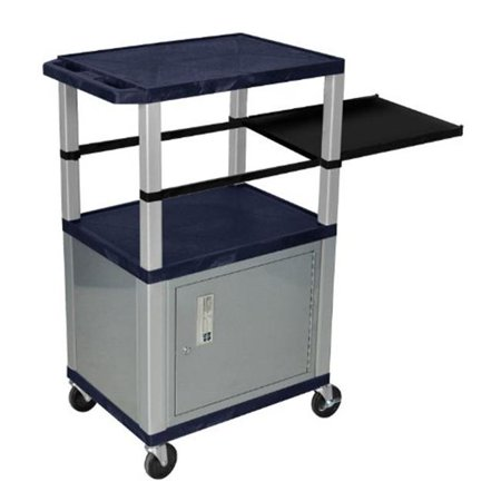 H Wilson WTPSP42ZC4E-N Tuffy 42 in. Tall Presentation Stations with Topaz Blue Shelves and Nickel Legs and Cabinet