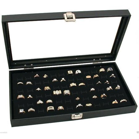 Glass Top Lid 72 Ring Black Showcase Jewelry Display Storage Organizer Box Case ()