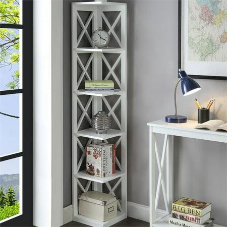 Scranton & Co 5 Shelf Corner Bookcase in White