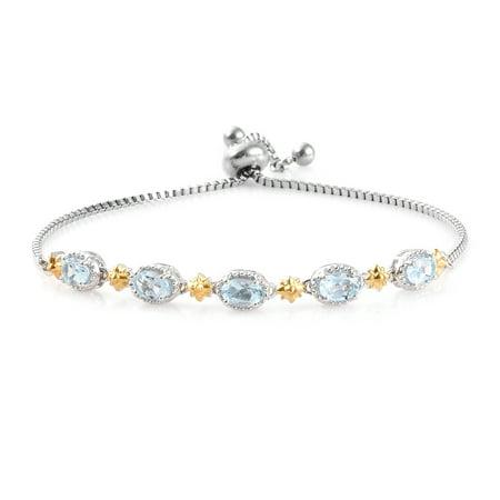 Oval Garnet Sky Blue Topaz Tennis Bracelet for Women Cttw 1.9 Jewelry (Oval Garnet Tennis Bracelet)