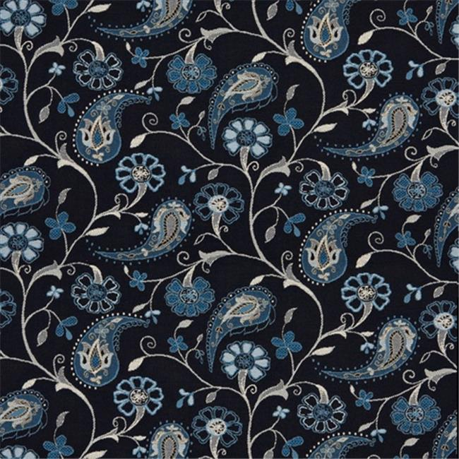 Designer Fabrics K0122A 54 inch Wide Navy, Light Blue, And Beige Paisley And Floral Woven Solution Dyed Indoor & Outdoor