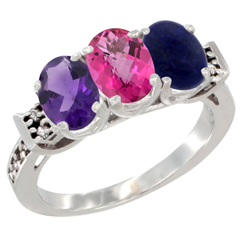 10K White Gold Natural Amethyst, Pink Topaz & Lapis Ring 3-Stone Oval 7x5 mm Diamond Accent, sizes 5 10 by WorldJewels