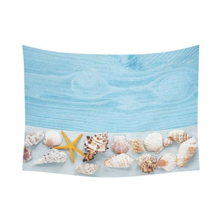 PHFZK Ocean Beach Theme Wall Art Home Decor, Starfish and Seashells on Blue Wooden Background Tapestry Wall Hanging 80 X 60 Inches ()