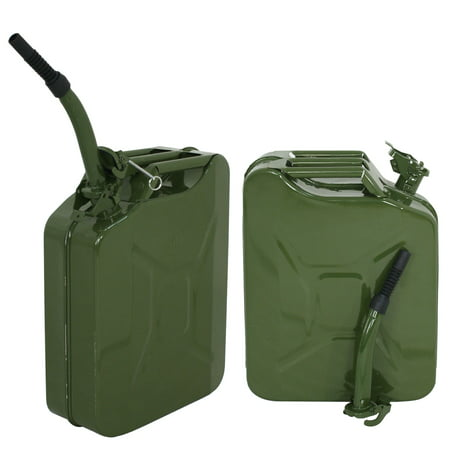 ZENY 2PCS 5 Gallon 20L Gas Jerry Can Fuel Steel Tank Military Green Style Storage Can