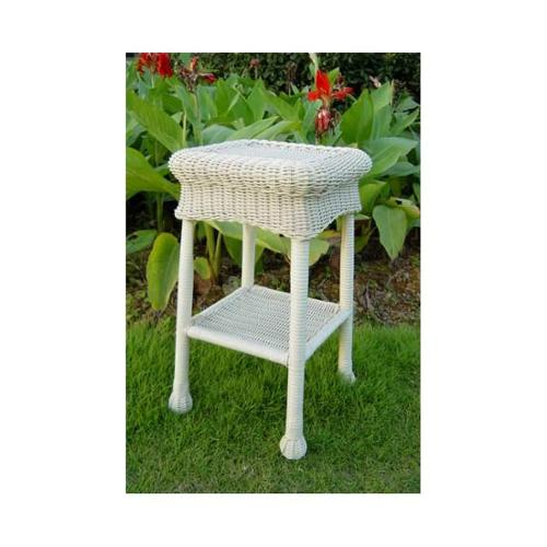 Wicker Resin Steel Patio Side Table (White) by International Caravan