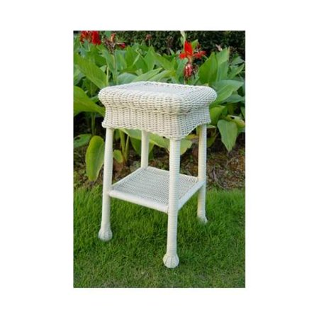 Wicker resin steel patio side table white for White patio table