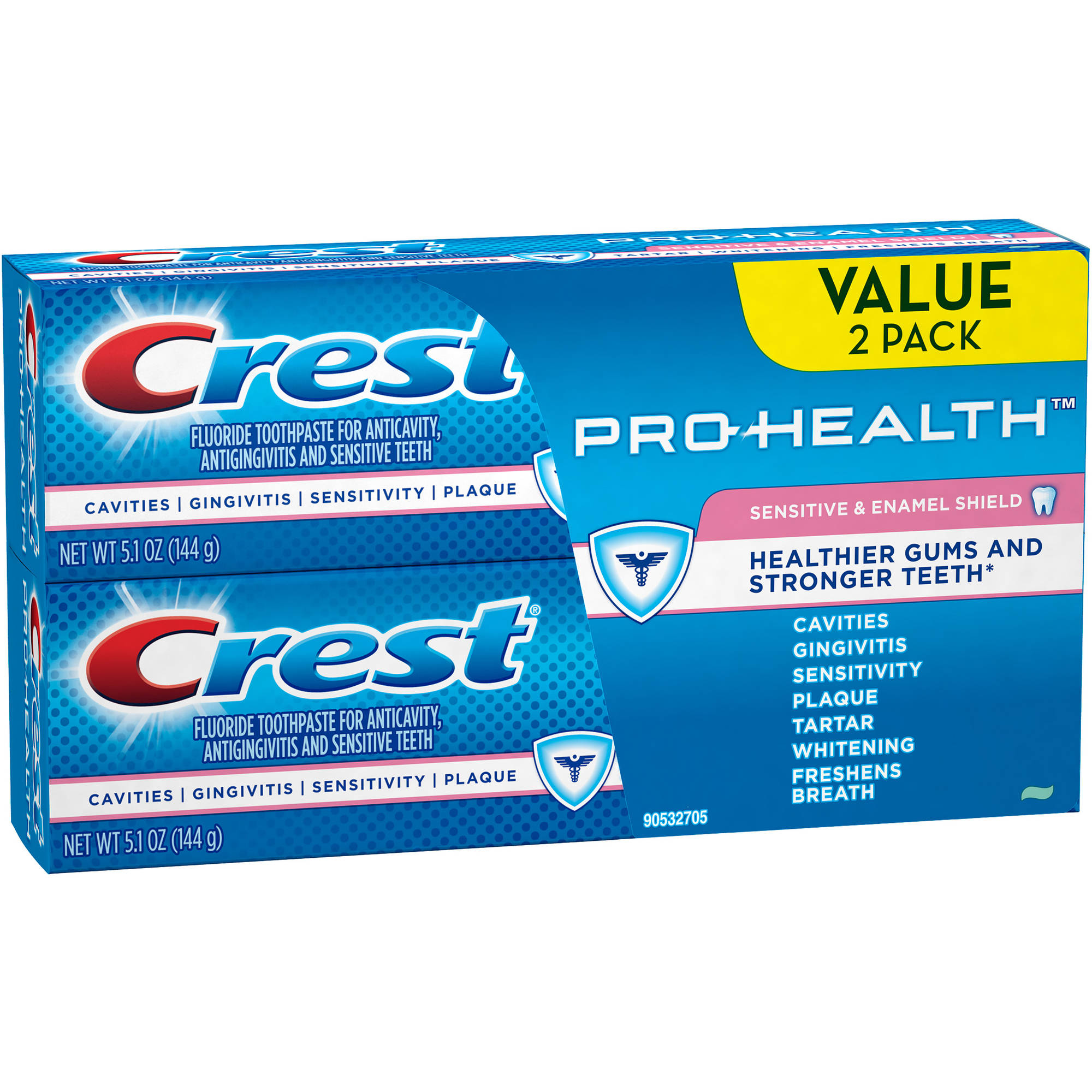 Crest Pro-Health Sensitive & Enamel Shield Toothpaste, 5.1 oz, 2 count