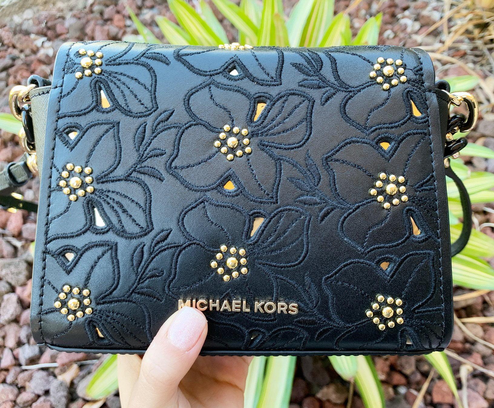 a522a24fb594ef Michael Kors Sofia Small Crossbody Black Pale Gold Perforated Floral  Studded - Walmart.com