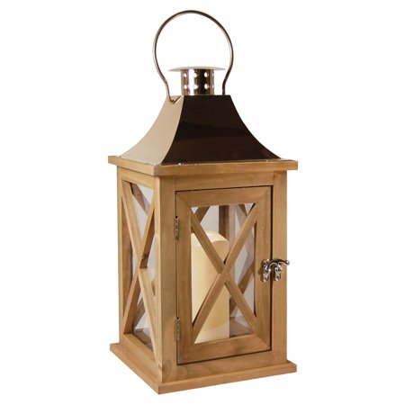 "Natural Metal - 15"" Natural Finished Wooden Lantern with Metal Roof and Flame Less LED Candle"