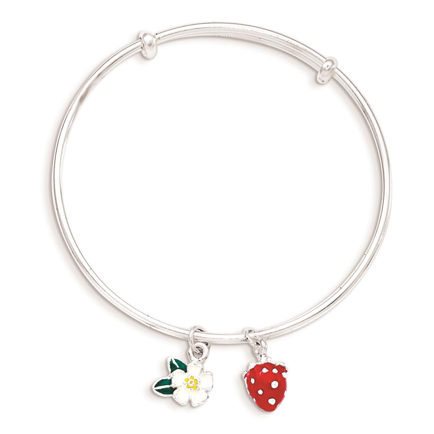 Childrens 925 Sterling Silver Enamel Kid's Flower and Strawberry Dangle Bangle