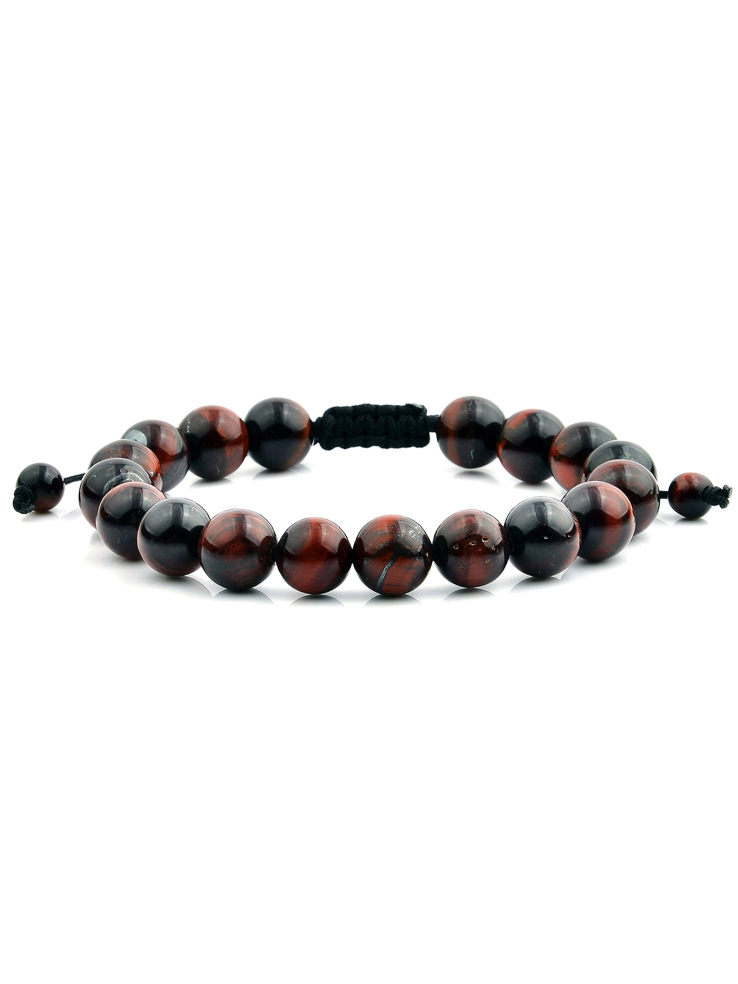 Men's Tiger's Eye Polished Bead Adjustable Bracelet (10mm)