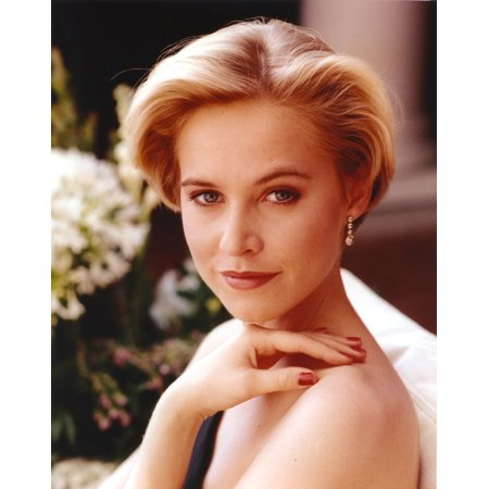 Josie Bissett wearing an Earrings and a Red Nail Polish in a Portrait Photo Print