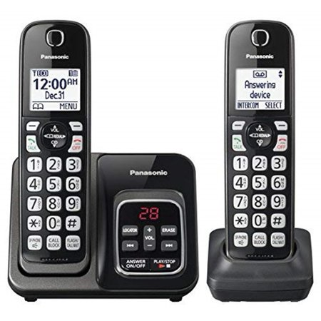 Panasonic Link2Cell Cordless Phone with Voice Assist and Answering Machine, 2 Handsets