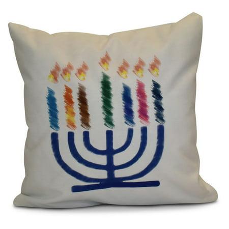 Image of E by Design Hanukka Illumination Menorah Print Outdoor Pillow