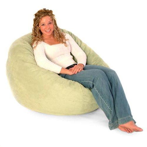 3 ft. Premier Microsuede Fuf Foam Lounger Bean Bag Chair With Liner -Black