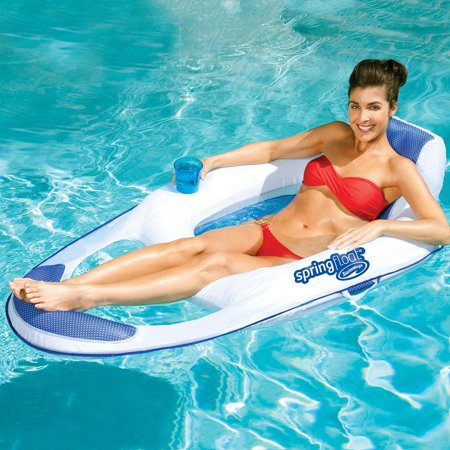 SwimWays Spring Float Mesh Recliner Floating Swimming Pool Water Lounge - Pool Floaters