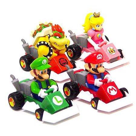 super mario mario kart ds set of 4 pull back racers. Black Bedroom Furniture Sets. Home Design Ideas