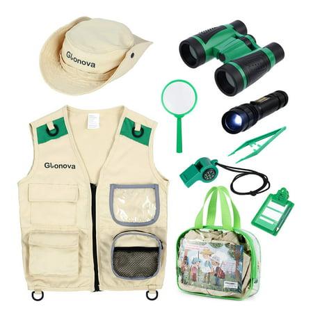 Glonova Kids Explorer Kit for Boys Girls, Adventure Exploration Kit with Washable Safari Costume Vest, Binoculars, Magnifying Glass, Safari Hat ()