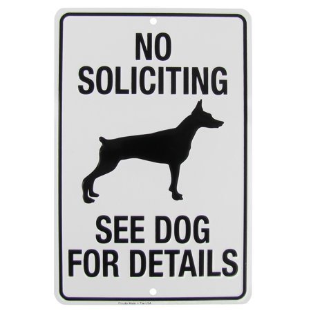 No Soliciting Go Away See Dog For Details Funny Metal Sign Yard Fence Home Decor