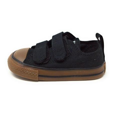 Converse Boys 2V Ox Sneaker Shoe Black & Gum Toddler Size 4 M US