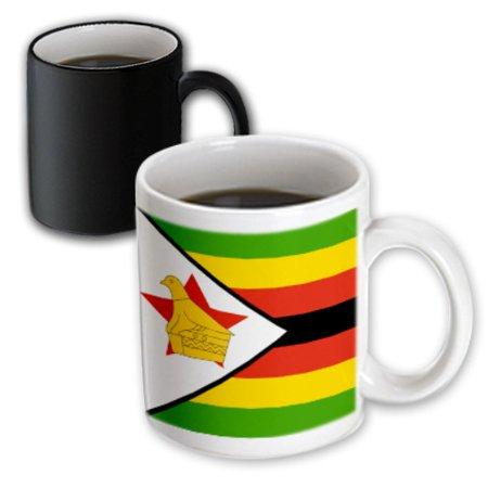 - 3dRose Flag of Zimbabwe - Zimbabwean green yellow red black stripes - gold bird star - African Africa world, Magic Transforming Mug, 11oz