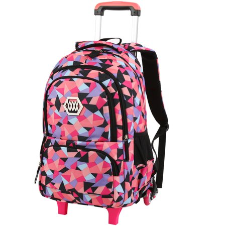 Little Girl Wheeled Backpack Adorable Rolling Daypack Large-capacity Trolley School Bag Travel Rolling Backpacks for Primary School