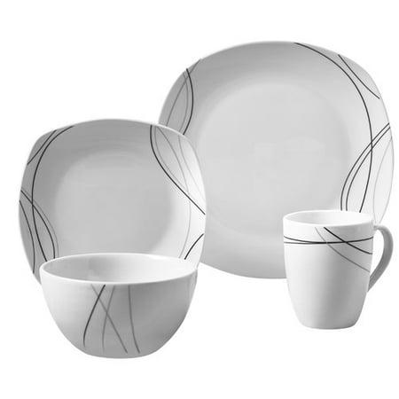 Tabletops Gallery Alec Square 16 Piece Dinnerware Set, Viney Pattern ()