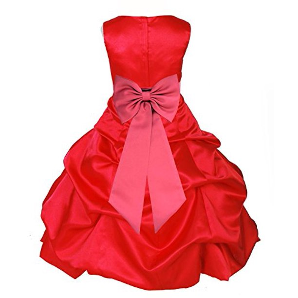 Red Satin Pick-Up Bubble Formal Flower Girl Dress Christmas 808T
