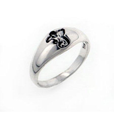 Small Sterling Silver 6mm Engraved Dragon Band Pinky (Silver Tone Dragon)