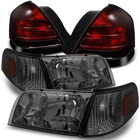 Fit 99-05 Ford Crown Victoria Smoke Headlights +Dark Red Tail Lights Replacement
