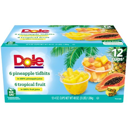 (24 Cups) Dole Fruit Bowls Tropical Fruit & Pineapple Tidbits in 100% Fruit Juice, 4 oz cups