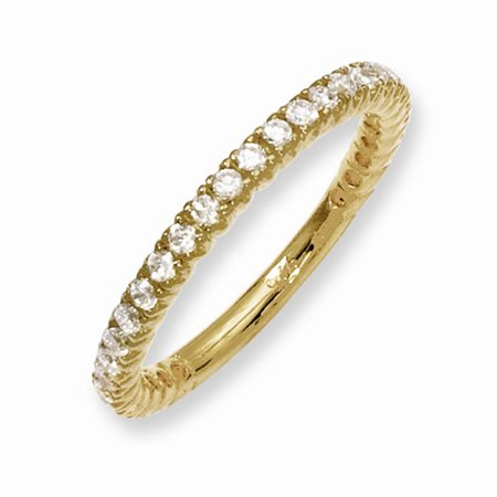 - Sterling Silver Yellow Plated with CZ Ring