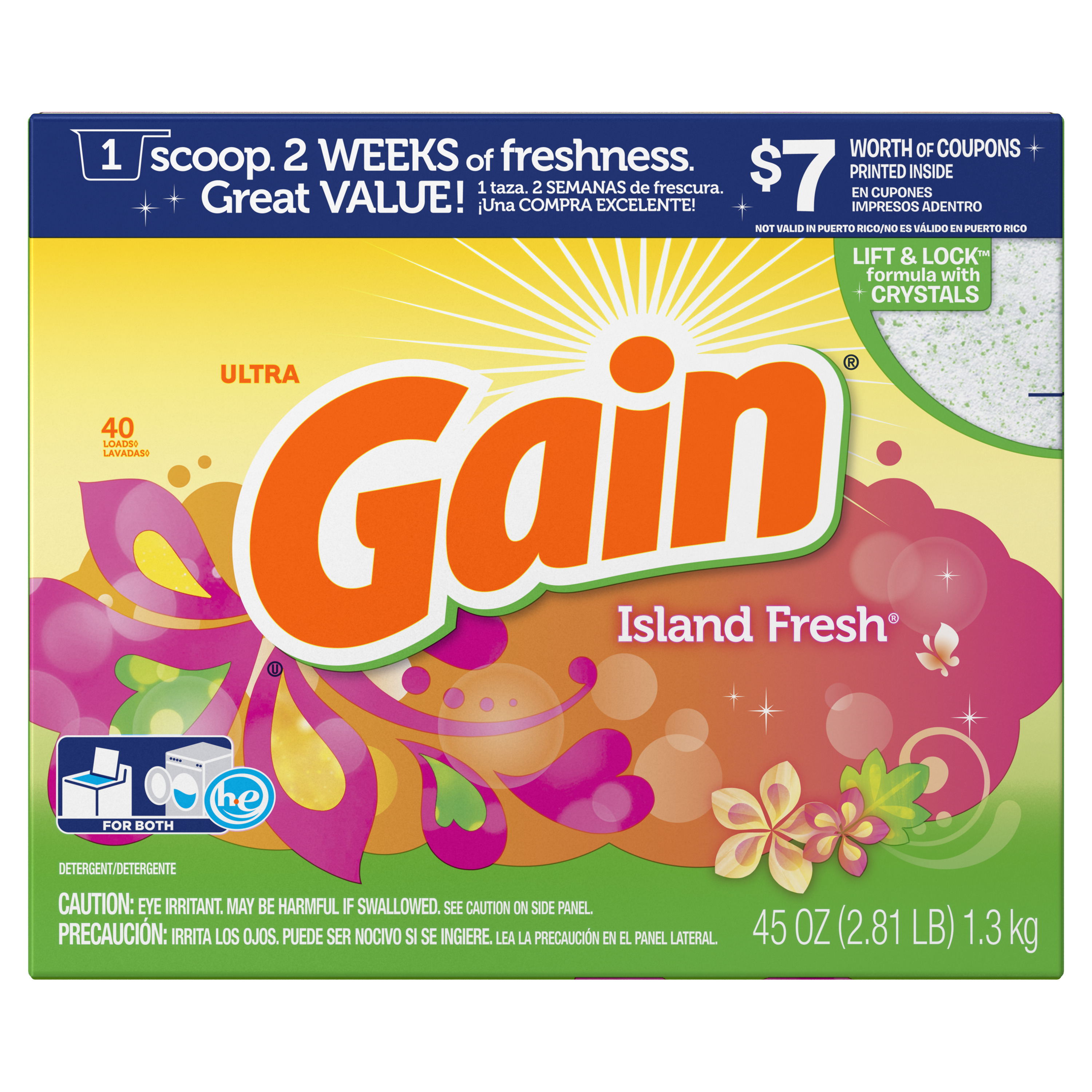 Gain Laundry Detergent Powder, Island Fresh, 40 Loads, 45 oz