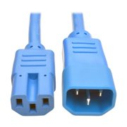 Heavy Duty Computer Power Extension Cord 15A, 14 AWG, C14 to C15, Blue - 6 ft.