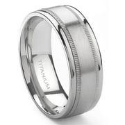 Titanium Kay Titanium 8mm Milgrain Comfort Fit Mens Wedding Band Ring Sz 10.0