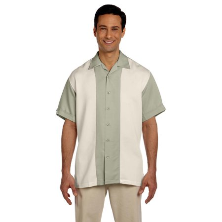 M575 Mens Two Tone Camp Shirt - Green Mist/Creme - (Two Tone Walls Dark On Top Or Bottom)