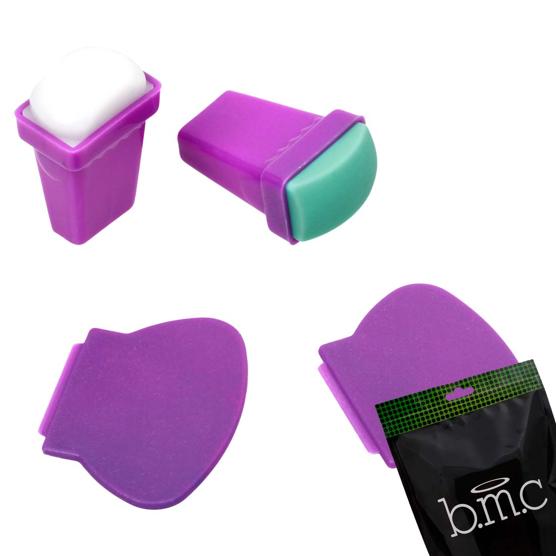 BMC 4pc Silicone and Rubber Stamper Plastic Scraper Nail Art Stamping Tools Set