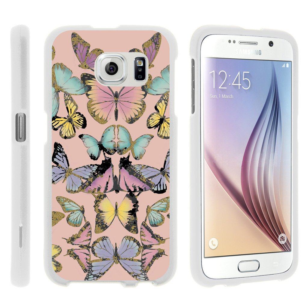 Samsung Galaxy S6 Edge G925, [SNAP SHELL][White] Hard White Plastic Case with Non Slip Matte Coating with Custom Designs - Butterfly Symmetry