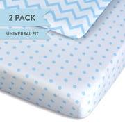 Pack N Play Portable Crib Sheet Set 100% Jersey Cotton 2 Pack - Light Blue Chevron and Polka Dots