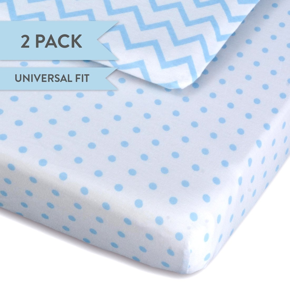 Pack N Play Portable Crib Sheet Set 100% Jersey Cotton 2 Pack - Light Blue Chevron and Polka Dots