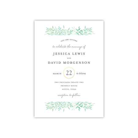 Personalized Wedding Invite - Elegant Sprigs - 5 x 7 Flat