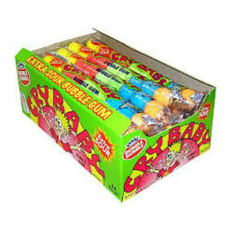 Sour Bubble Gum - Product Of Cry Baby, Extra Sour Bubble Gum Tube, Count 24 (1.6 oz) - Sugar Candy / Grab Varieties & Flavors