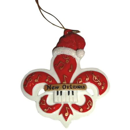 Red Music Fleur De Lis New Orleans Christmas Ornament Party