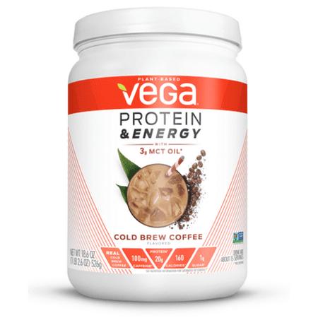 Vega Protein & Energy Powder, Cold Brew Coffee, 20g Protein, 1.2lb, 18.6oz