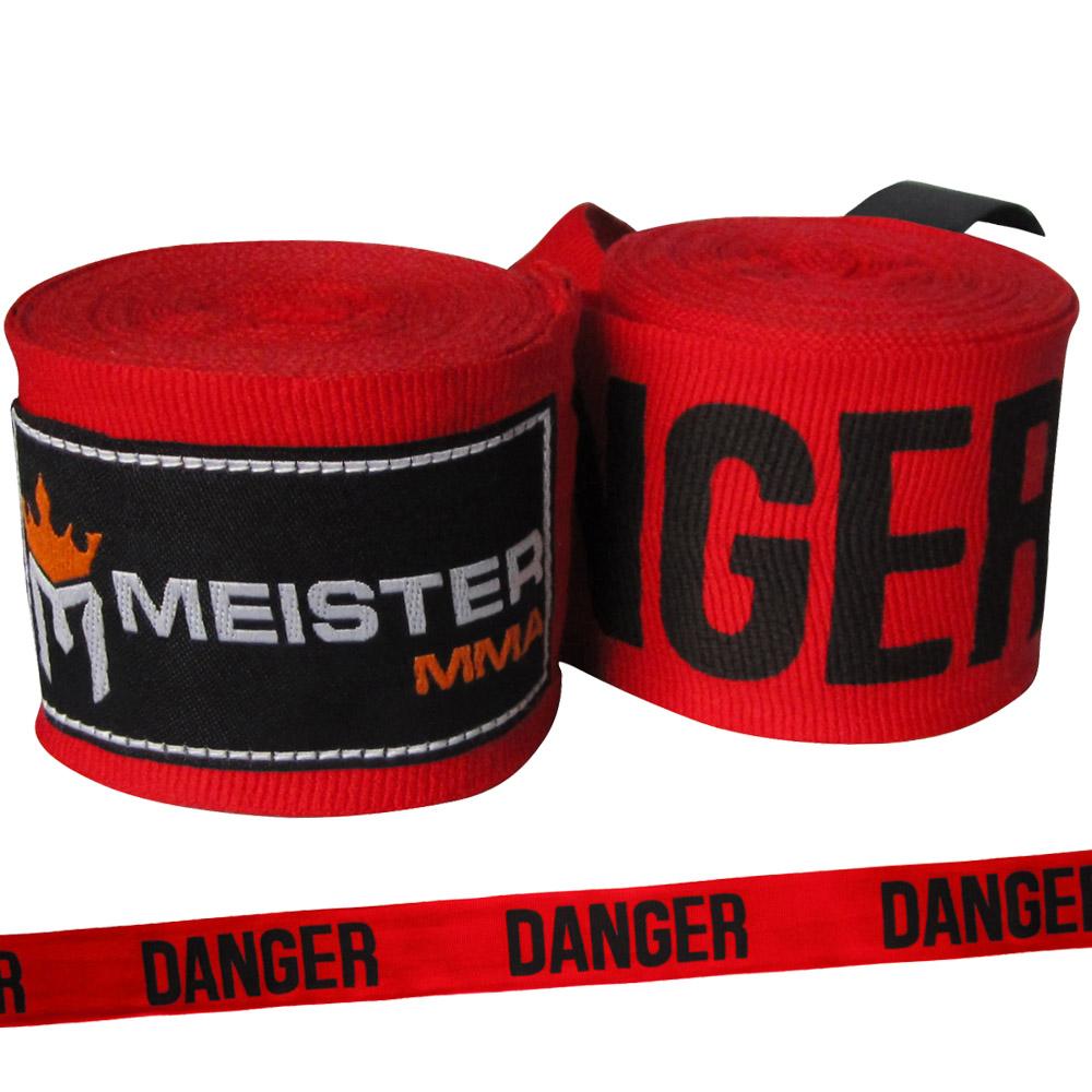 "Meister 180"" Semi-Elastic MMA Hand Wraps (Pair) - Danger Red"
