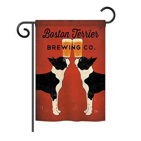 Breeze Decor - Boston Terrier Brewing Nature - Everyday Pets Impressions Decorative Vertical Garden Flag 13