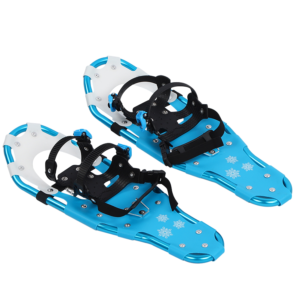 Blue 24.80 x 8.27 x 5.51 inch Lightweight Aluminum Frame Snowfield Flexible Walking Snow Hiking Shoes with Quick Release Buckle for Men Women Youth Outdoor Use 25 Inch Snowshoes